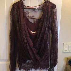 Sexy Lace Long Sleeve Top with tank top